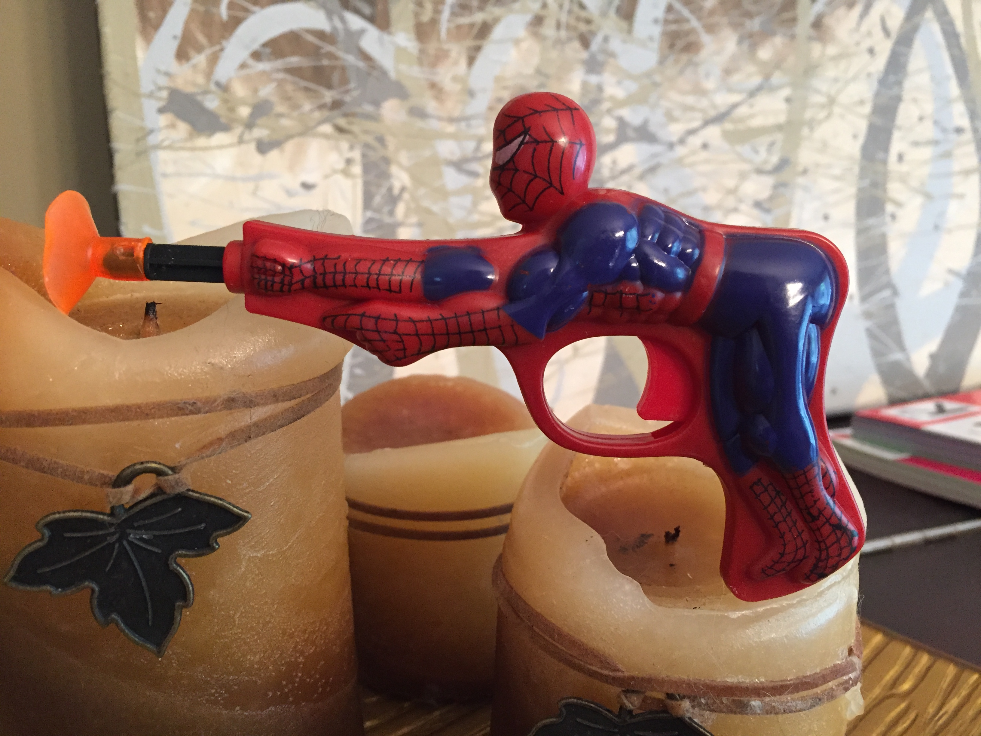 Spider-man Batman toy water dart gun penis trigger Knock Off Bootleg Clone